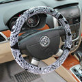 LV Auto Car Steering Wheel Cover Plush Velvet Printing Diameter 15 inch 38CM - Gray