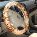 Leopard Auto Car Steering Wheel Cover Plush Velvet Leopard Diameter 15 inch 38CM - Brown