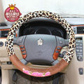 Mocmoc Auto Car Steering Wheel Cover Leopard Plush Velvet Diameter 15 inch 38CM - Brown