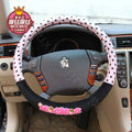 Mocmoc Auto Car Steering Wheel Cover Point Plush Velvet Diameter 15 inch 38CM - Black