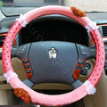Mocmoc Auto Car Steering Wheel Cover Point Plush Velvet Diameter 15 inch 38CM - Pink