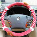 Mocmoc Auto Car Steering Wheel Cover Point Plush Velvet Diameter 15 inch 38CM - Rose