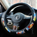One Piece Auto Car Steering Wheel Cover Rubber Monkey.D.Luffy Diameter 15 inch 38CM - Black