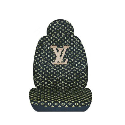 buy wholesale lv louis vuitton universal auto car seat cover set cotton 10pcs black gold car. Black Bedroom Furniture Sets. Home Design Ideas