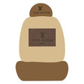 LV LOUIS VUITTON Universal Auto Car Seat Cover Set Cotton 10pcs - Coffee+Brown