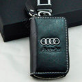 Audi Logo Auto Key Bag Pocket Genuine Leather Car Key Case Holder Cover Key Chain - Black