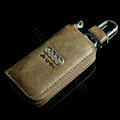 Audi Logo Auto Key Bag Pocket Genuine Leather Car Key Case Holder Cover Key Chain - Yellow