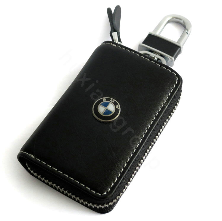 Bmw Logo Auto Key Bag Pocket Genuine Leather Car Key Case Holder Cover Key Chain Black L