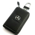 Benz Logo Auto Key Bag Pocket Genuine Leather Car Key Case Holder Cover Key Chain - Black
