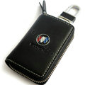 Buick Logo Auto Key Bag Pocket Genuine Leather Car Key Case Holder Cover Key Chain - Black