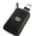 Cadillac Logo Auto Key Bag Pocket Genuine Leather Car Key Case Holder Cover Key Chain - Black