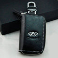Chery Logo Auto Key Bag Pocket Genuine Leather Car Key Case Holder Cover Key Chain - Black