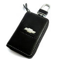 Chevrolet Logo Auto Key Bag Pocket Genuine Leather Car Key Case Holder Cover Key Chain - Black