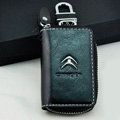Citroen Logo Auto Key Bag Pocket Genuine Leather Car Key Case Holder Cover Key Chain - Black