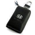 Honda Logo Auto Key Bag Pocket Genuine Leather Car Key Case Holder Cover Key Chain - Black
