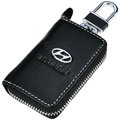 Hyundai Logo Auto Key Bag Pocket Genuine Leather Car Key Case Holder Cover Key Chain - Black