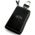 KIA Logo Auto Key Bag Pocket Genuine Leather Car Key Case Holder Cover Key Chain - Black