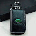 Landrover Logo Auto Key Bag Pocket Genuine Leather Car Key Case Holder Cover Key Chain - Black