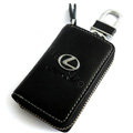 Lexus Logo Auto Key Bag Pocket Genuine Leather Car Key Case Holder Cover Key Chain - Black