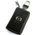 Mazda Logo Auto Key Bag Pocket Genuine Leather Car Key Case Holder Cover Key Chain - Black