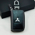 Mitsubishi Logo Auto Key Bag Pocket Genuine Leather Car Key Case Holder Cover Key Chain - Black