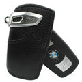 Nasili Auto Key Bag Pocket Cowhide Leather Car Key Case Holder Cover Key Chain for BMW - Black