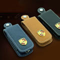 Nasili Auto Key Bag Pocket Genuine Leather Car Key Case Holder Cover Key Chain for Porsche - Yellow