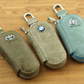 Nasili BMW Logo Auto Key Bag Pocket Genuine Leather Car Key Case Holder Cover Key Chain - Beige