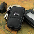 Nasili Skylight Jeep Logo Auto Key Bag Genuine Leather Pocket Car Key Case Cover Key Chain - Black