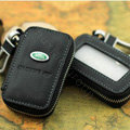 Nasili Skylight Landrover Logo Auto Key Bag Genuine Leather Pocket Car Key Case Cover Key Chain - Black