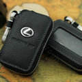 Nasili Skylight Lexus Logo Auto Key Bag Genuine Leather Pocket Car Key Case Cover Key Chain - Black