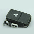 Nasili Skylight Mitsubishi Logo Auto Key Bag Genuine Leather Pocket Car Key Case Cover Key Chain - Black