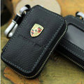 Nasili Skylight Porsche Logo Auto Key Bag Genuine Leather Pocket Car Key Case Cover Key Chain - Black