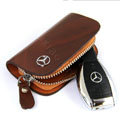 Nasili Wood grain Benz Logo Auto Key Bag Genuine Leather Pocket Car Key Case Cover Key Chain - Brown