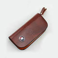 Nasili Wood grain Buick Logo Auto Key Bag Genuine Leather Pocket Car Key Case Cover Key Chain - Brown