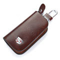 Nasili Wood grain Cadillac Logo Auto Key Bag Genuine Leather Pocket Car Key Case Cover Key Chain - Brown