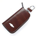 Nasili Wood grain Chevrolet Logo Auto Key Bag Genuine Leather Pocket Car Key Case Cover Key Chain - Brown