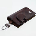 Nasili Wood grain Citroen Logo Auto Key Bag Genuine Leather Pocket Car Key Case Cover Key Chain - Brown