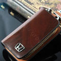Nasili Wood grain Honda Logo Auto Key Bag Genuine Leather Pocket Car Key Case Cover Key Chain - Brown