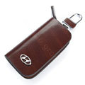 Nasili Wood grain Modern Logo Auto Key Bag Genuine Leather Pocket Car Key Case Cover Key Chain - Brown