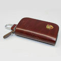 Nasili Wood grain Porsche Logo Auto Key Bag Genuine Leather Pocket Car Key Case Cover Key Chain - Brown