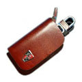 Nasili Wood grain Roewe Logo Auto Key Bag Genuine Leather Pocket Car Key Case Cover Key Chain - Brown
