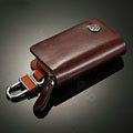 Nasili Wood grain Volkswagen Logo Auto Key Bag Genuine Leather Pocket Car Key Case Cover Key Chain - Brown