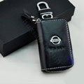 Nissan Logo Auto Key Bag Pocket Genuine Leather Car Key Case Holder Cover Key Chain - Black