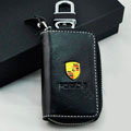 Porsche Logo Auto Key Bag Pocket Genuine Leather Car Key Case Holder Cover Key Chain - Black