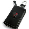 Roewe Logo Auto Key Bag Pocket Genuine Leather Car Key Case Holder Cover Key Chain - Black