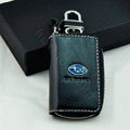 Subaru Logo Auto Key Bag Pocket Genuine Leather Car Key Case Holder Cover Key Chain - Black