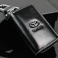 Toyota Logo Auto Key Bag Pocket Genuine Leather Car Key Case Holder Cover Key Chain - Black