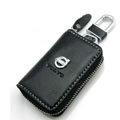 Volvo Logo Auto Key Bag Pocket Genuine Leather Car Key Case Holder Cover Key Chain - Black