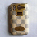 LV classic plaid leather Case Hard Back Cover for HTC Desire HD A9191 G10 - Beige